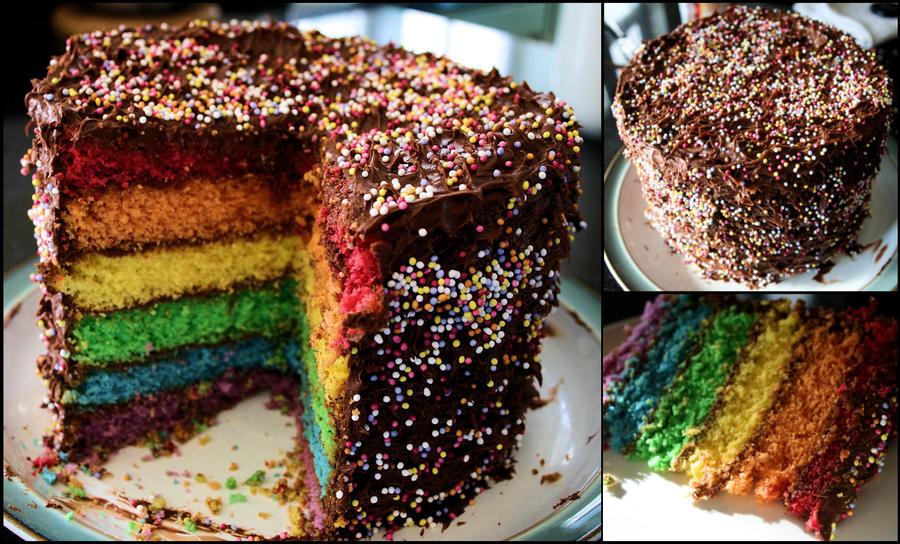 Rainbow Cake. by hanaski