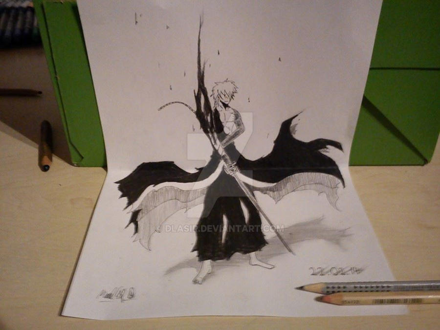 Ichigo final getsuga tenshou 3d drawing by dlasir