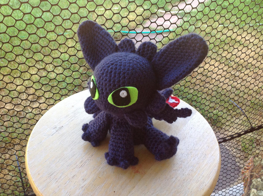 Free Crochet Pattern For Toothless The Dragon : Toothless Amigurumi 1 by KBenniCat on DeviantArt