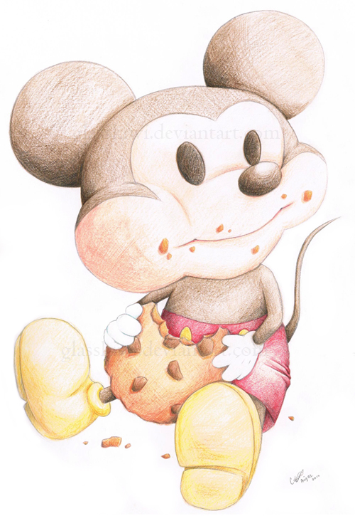 Mickey eating cookie by glasskiwi