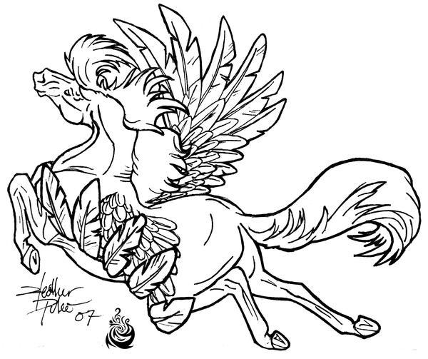 flying horse lineart by BeautyGirl1510