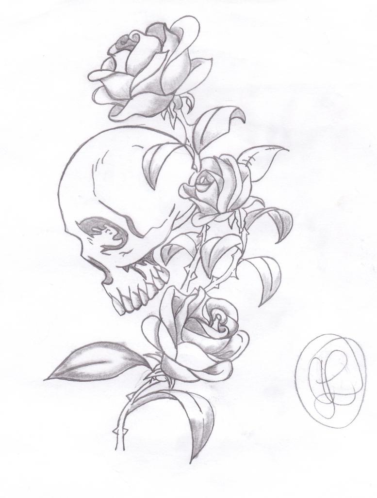 skull and roses by LittleMissAsh on DeviantArt