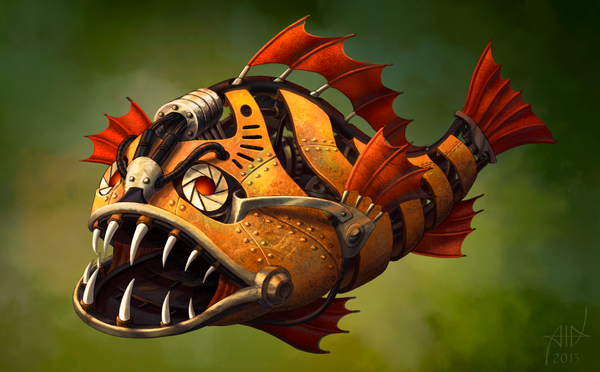 Crazy Steampunk Fish by PVersus
