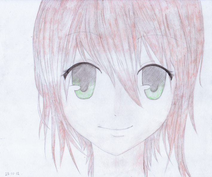 Green Eyes Red Brown Hair Anime Girl By Akluiis On
