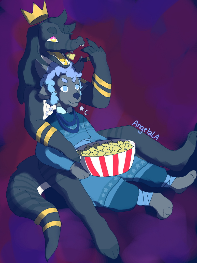 Snuggles and Popcorn - Commission by Muuluzi