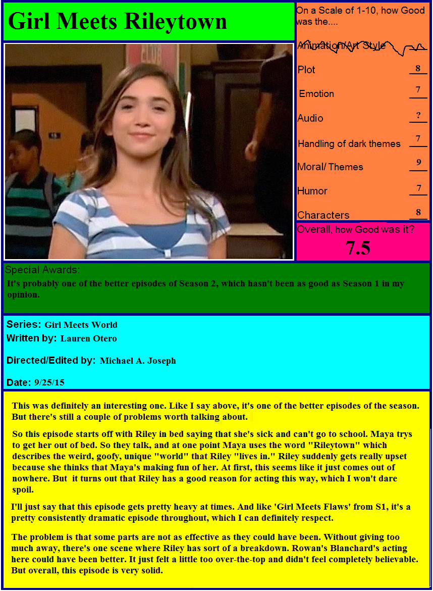 girl meets world rileytown 2015-09-25 episode 17 : girl meets rileytown after maya hurts riley's feelings, the group learns that riley is overly sensitive because another classmate is making fun of her.