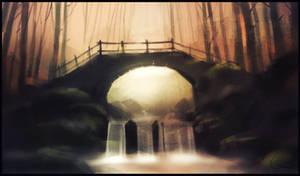 bridge in forest by GaudiBuendia
