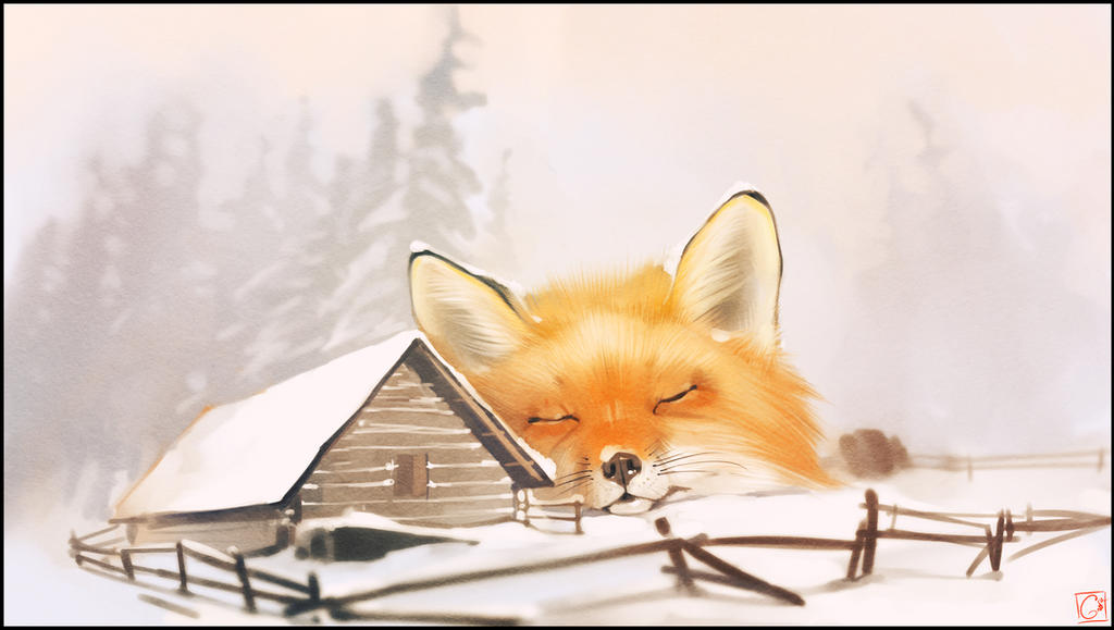 Winter fox by GaudiBuendia