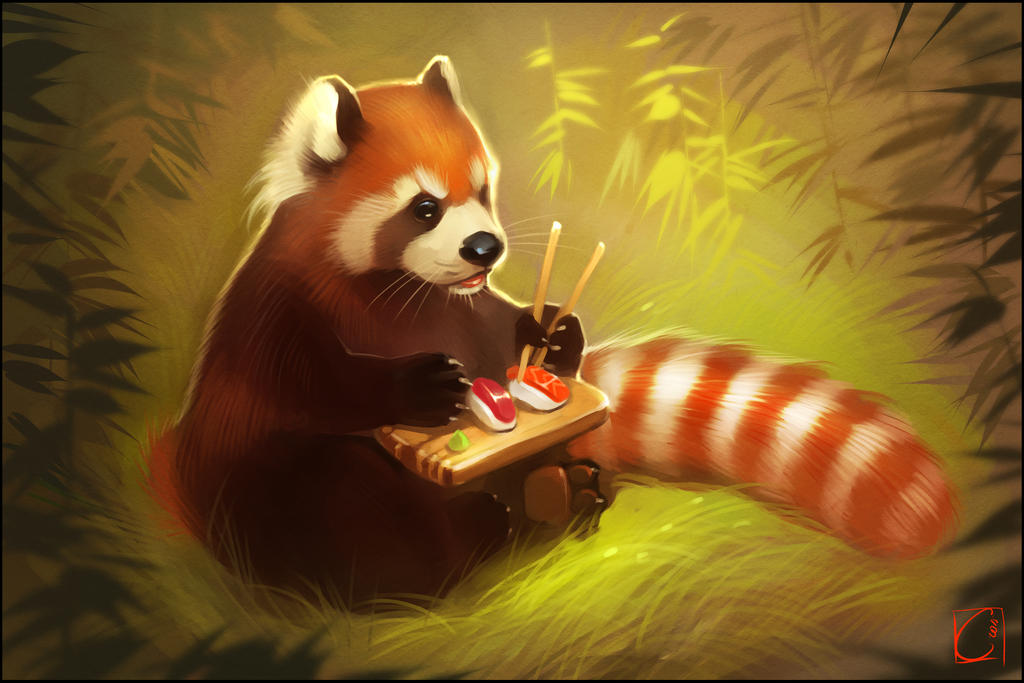 Chinese Red Panda Paintings