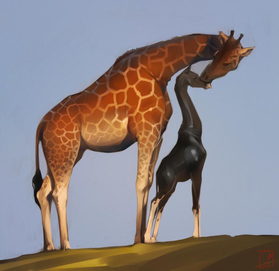 black giraffe by GaudiBuendia