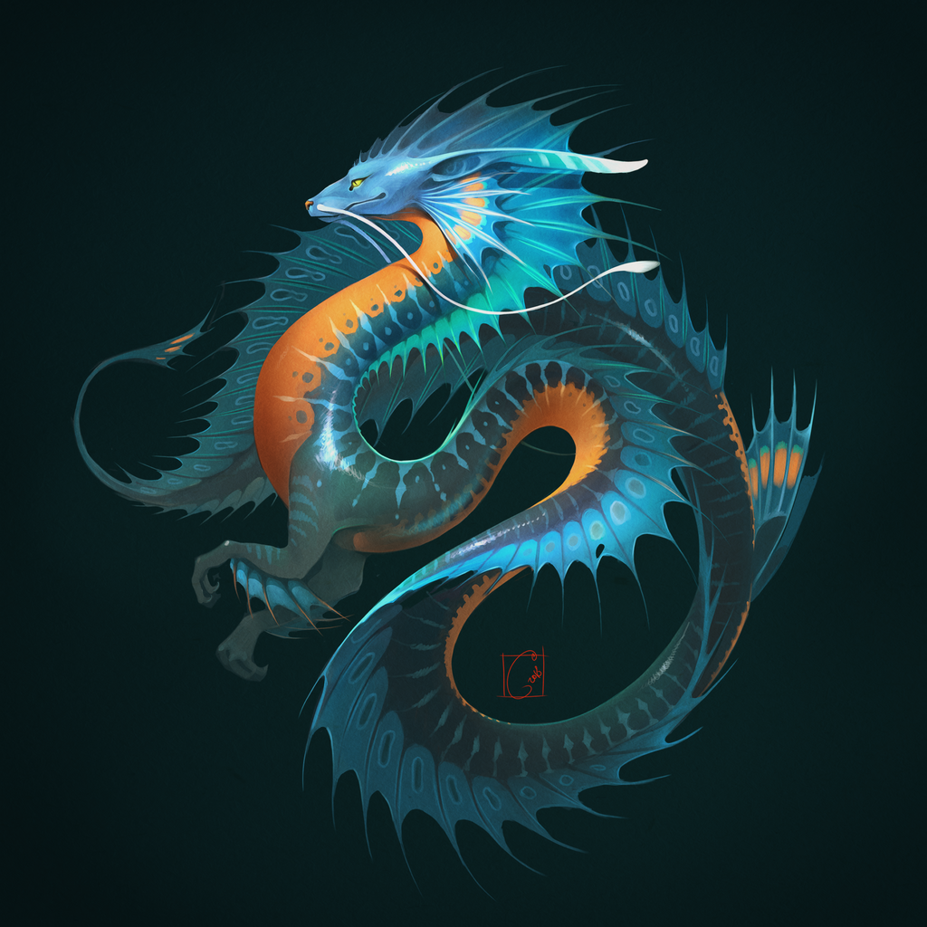 Blue water dragon by GaudiBuendia
