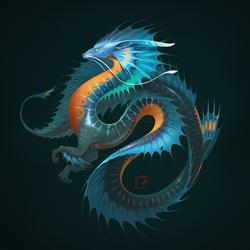 Blue water dragon by GaudiBuendia