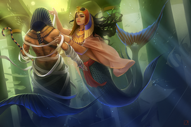 ancient egypt mermaids by GaudiBuendia