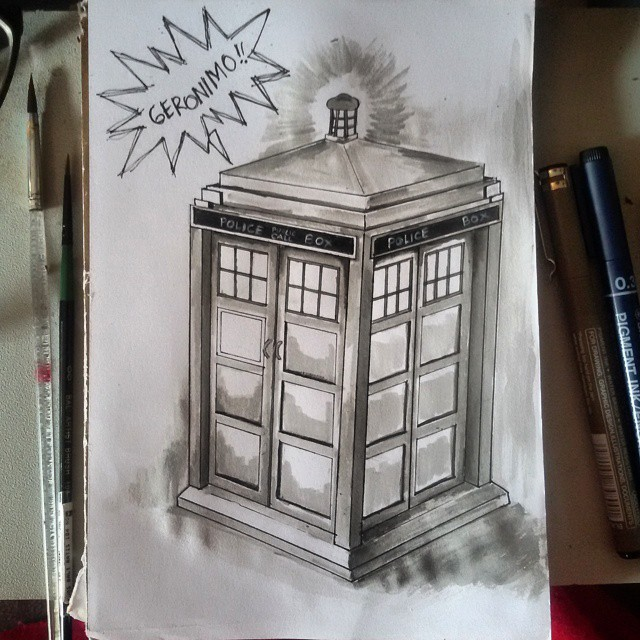INKtober Day 4: The Tardis by aiisblueapple