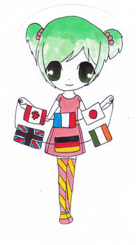 flags girl coloured