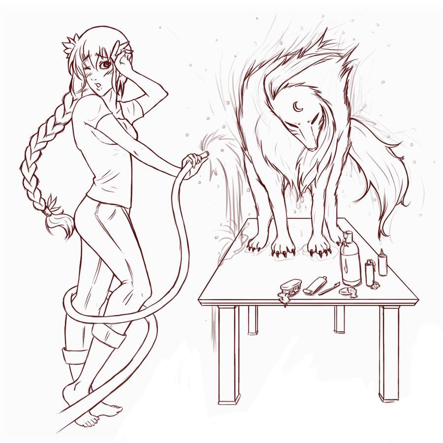 Sesshy et Kagome -line art by LordMaru4U