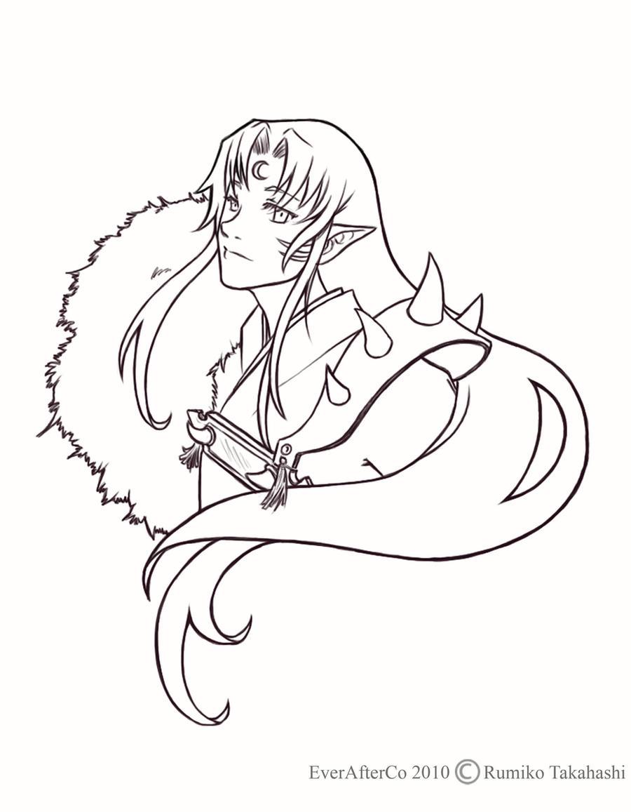 Sesshomaru in Line Art by LordMaru4U