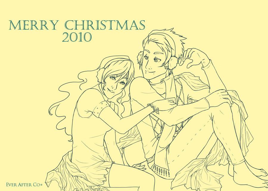 Christmas 2010 Line Art by LordMaru4U