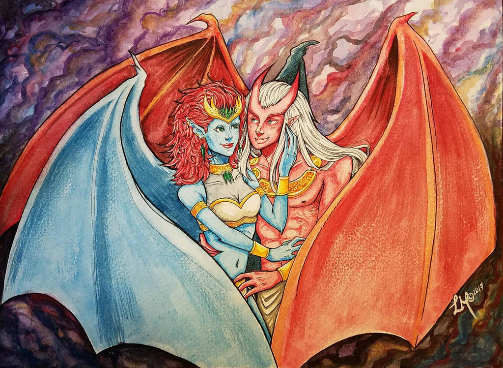 Demona and Brooklyn watercolor by LordMaru4U