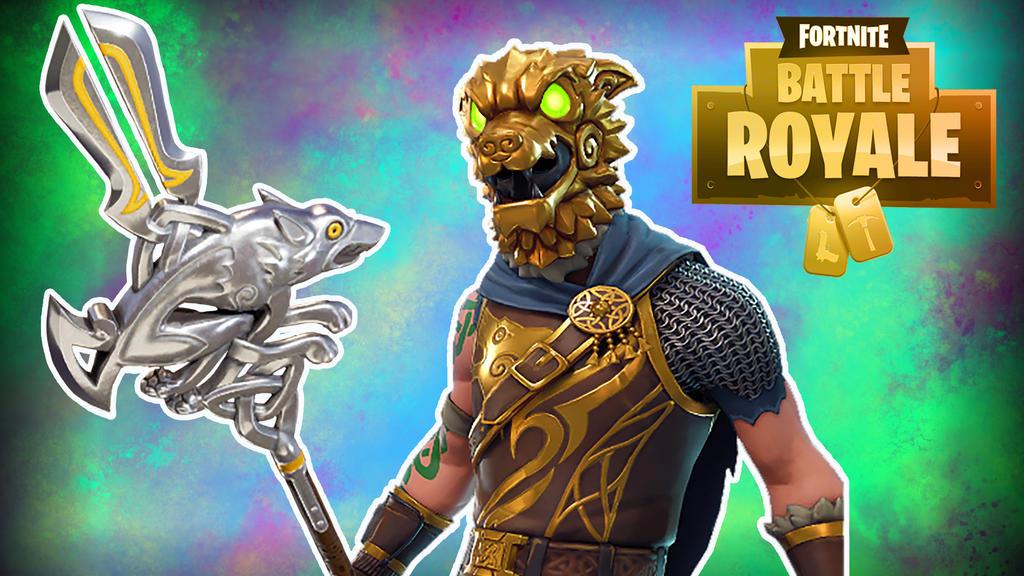 Fortnite BR Gold Hound w/ staff by LordMaru4U