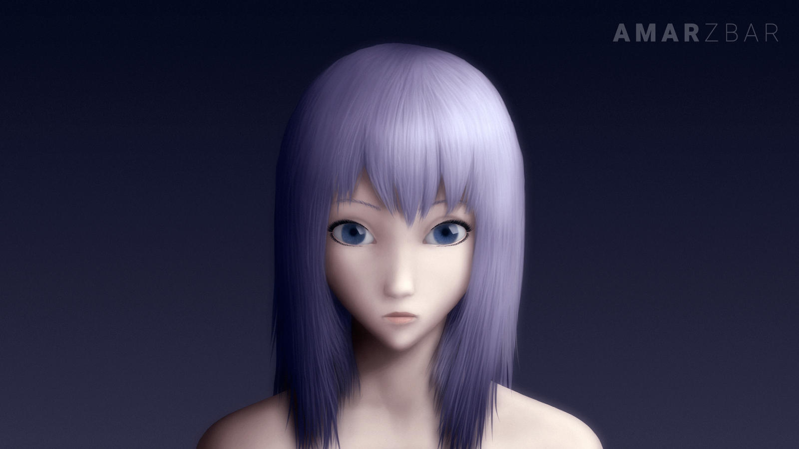 Semi-Realistic Purple Haired Anime Girl by Amarzbar on ...