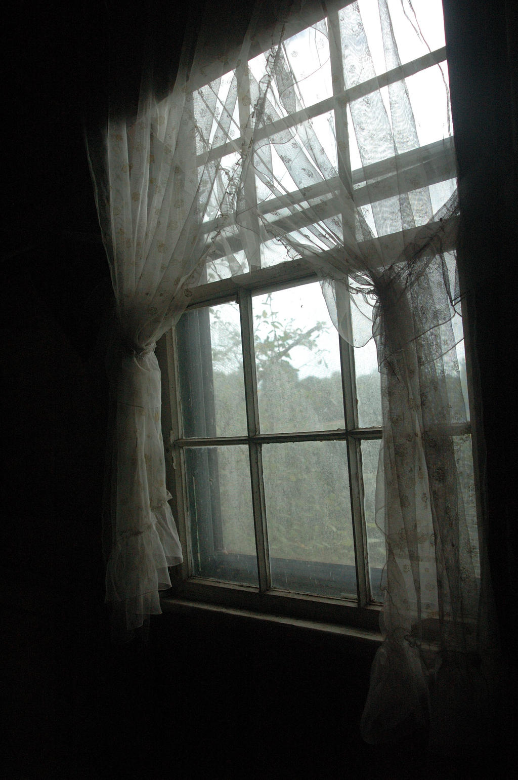 Window With old lace curtains