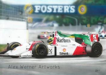 Ayrton Senna - McLaren MP4-8 1993 by aalexwerner