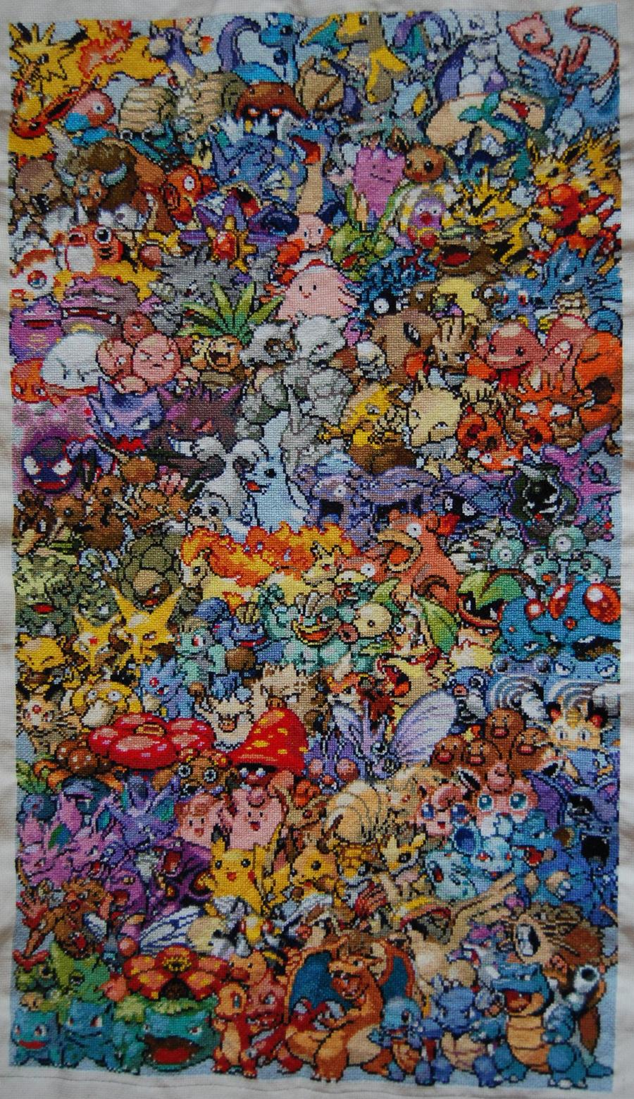 Finished Epic Pokemon Cross Stitch by sfxbecks