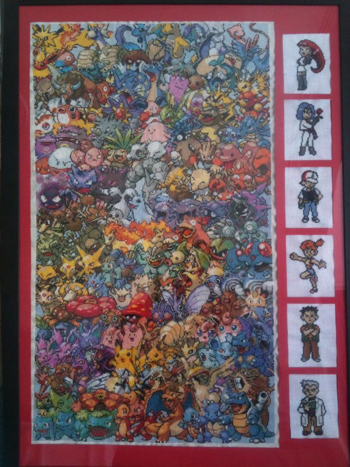 Mounted and Framed Epic Pokemon Cross Stitch by sfxbecks on DeviantArt