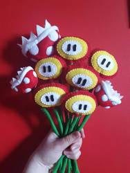 Handmade Plush Mario Flower Bouquet