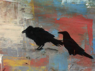 Old Raven and young Raven painted by Redwatersilk