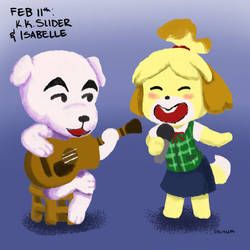 February 11th: K.K. Slider and Isabelle by Symplee-D