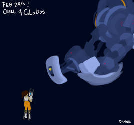 Feb 24th: Chell and GLaDos from the Portal series by Symplee-D