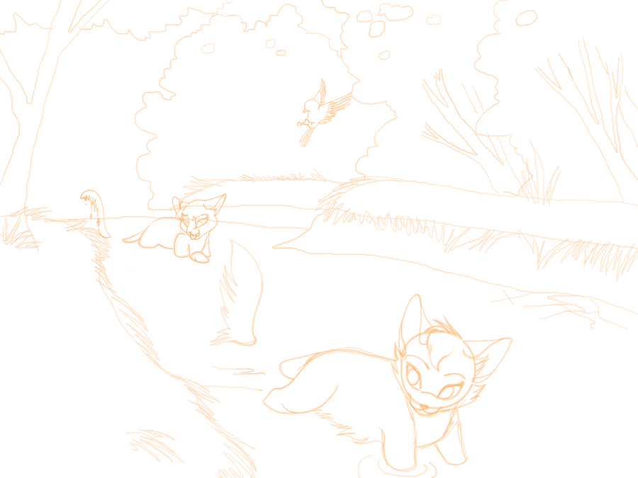 A cooling swim sketch (Livestreaming Online) by INfernoLynx
