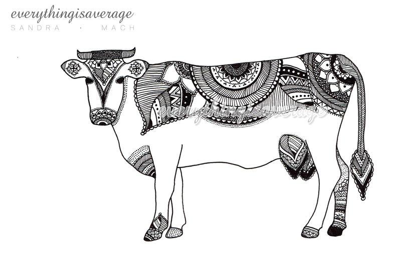 Mandala cow by everythingisaverage
