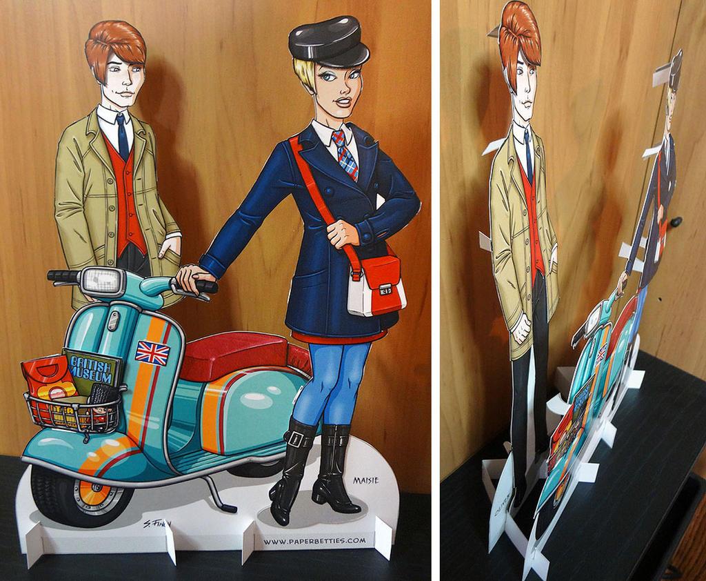 Mod, Mod Scooter Couple Paper Dolls