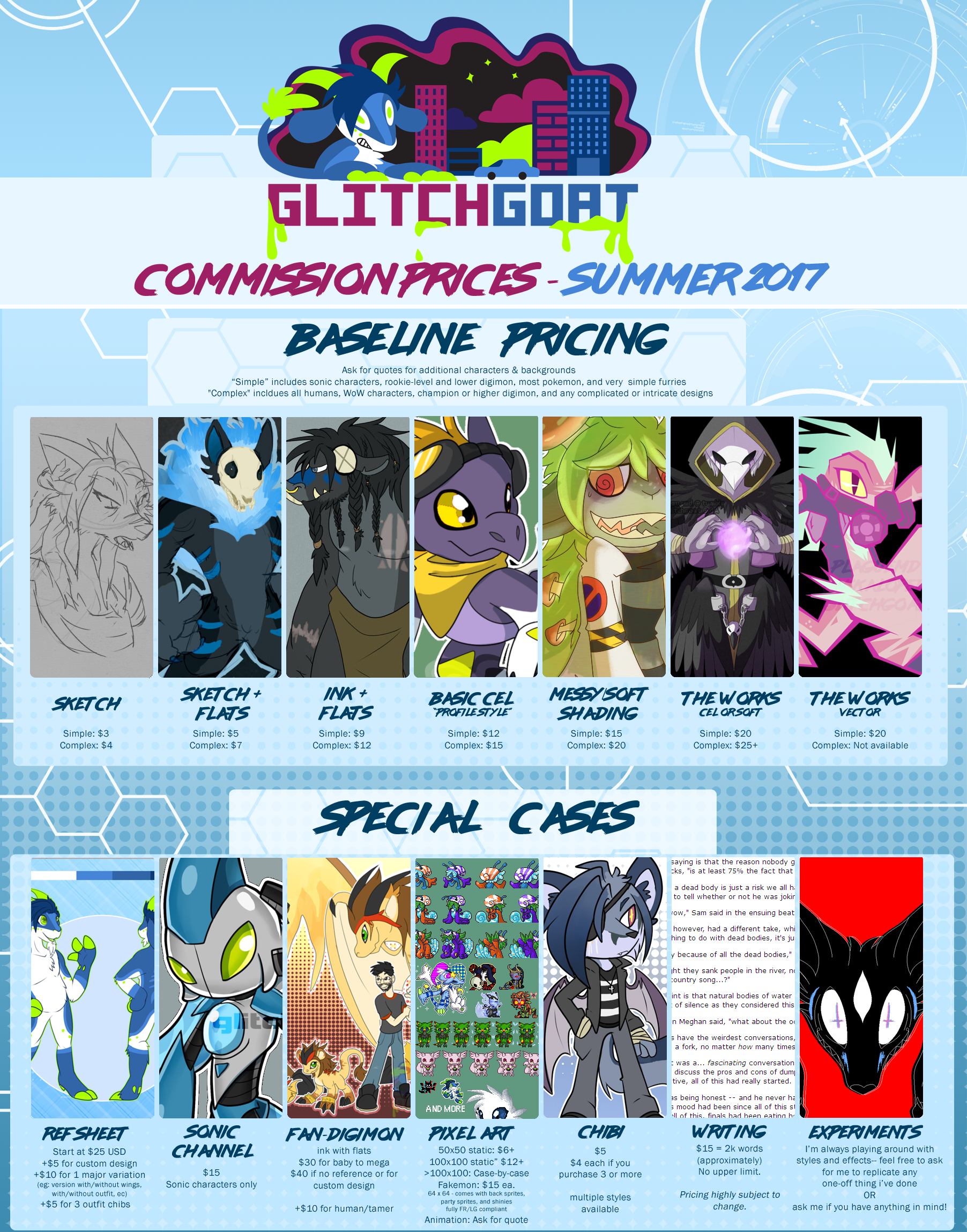 Commission Prices + TOS: Summer 2017 by glitchgoat