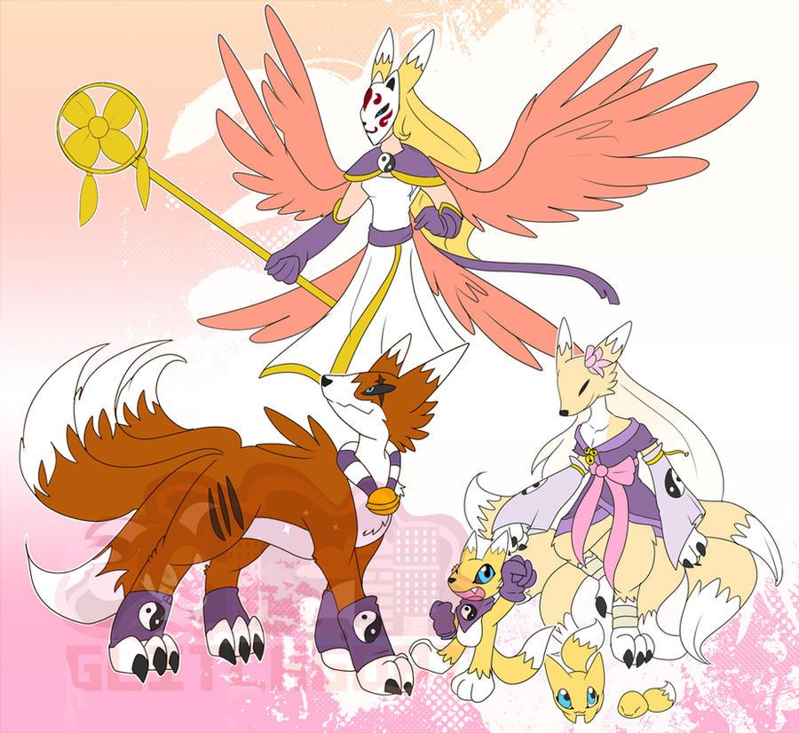 [c] Cherry-blossom Fox Digimon by glitchgoat