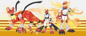 [c] Fire Pine Marten Digimon by glitchgoat