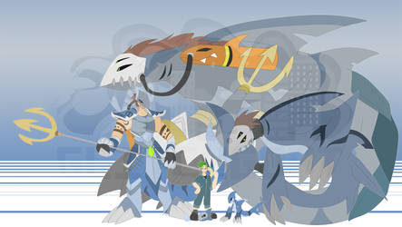 [c] Shark Digimon by glitchgoat