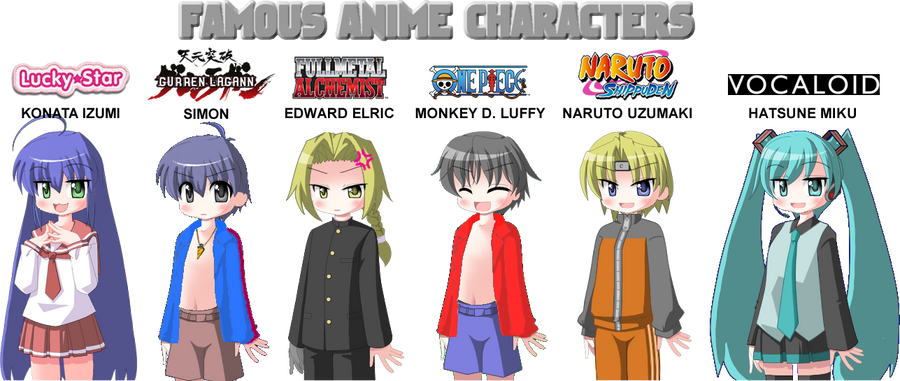 Array Of Anime Characters By Mastergamer1909