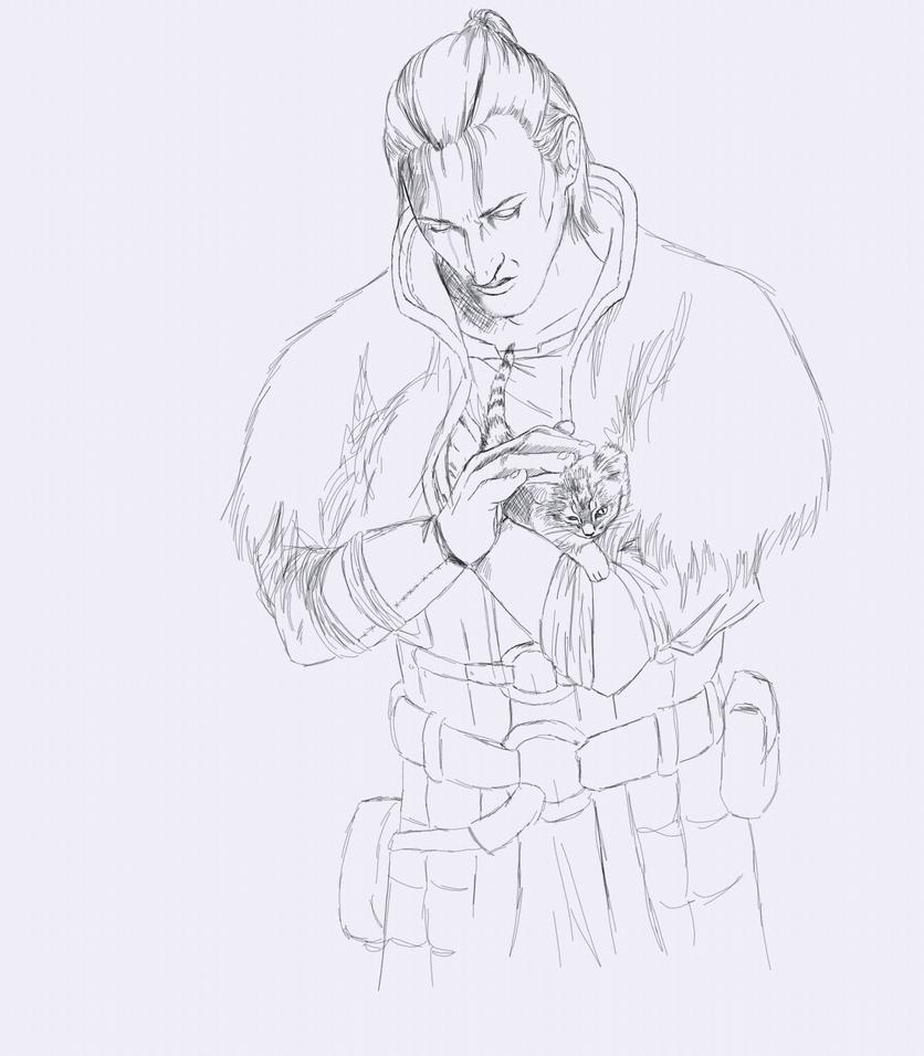 Anders with kitten - sketch by ArkadyRose