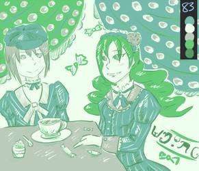 Kyoko ana Sayaka tea party palette 83 by Almison