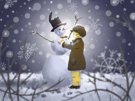 A snowy friend