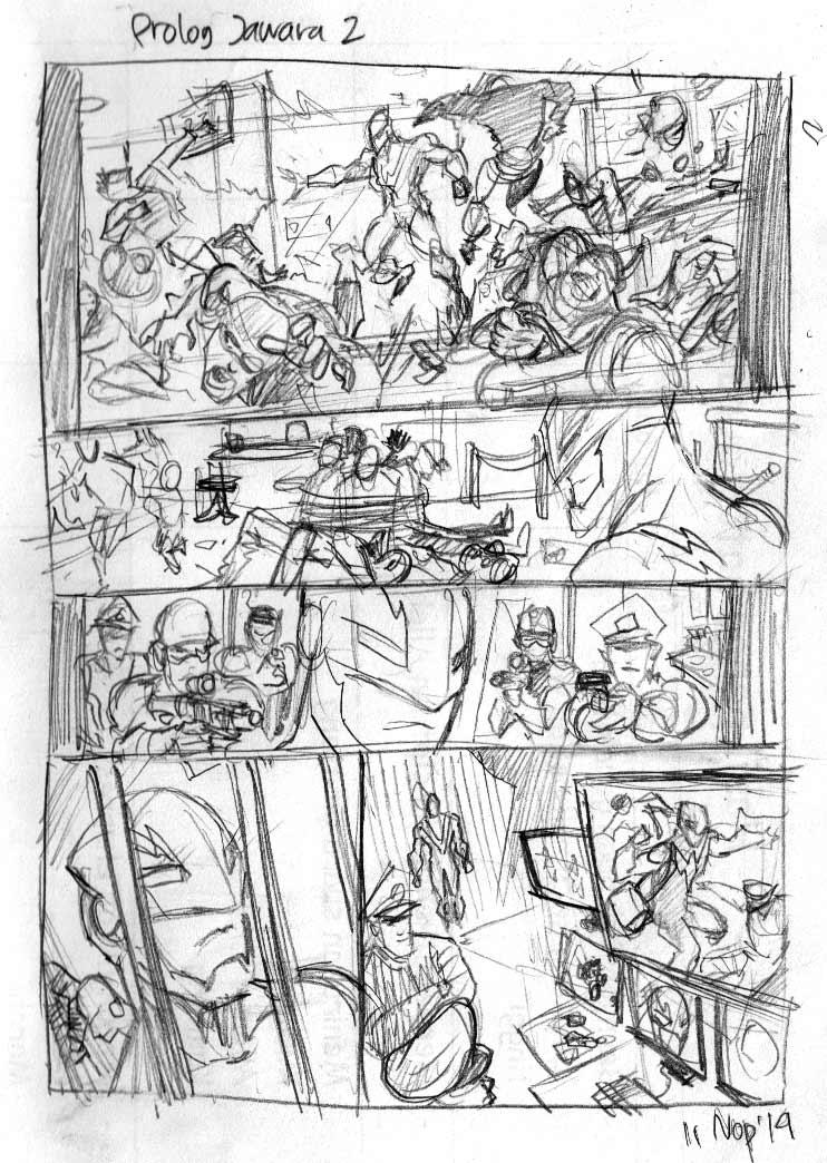 Volt Comic strip Prolog Jawara 2 Layout by arivrussanto