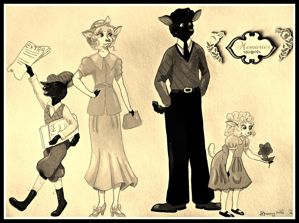 1930's Sheep Family-Sepia Color by FlapperFoxy