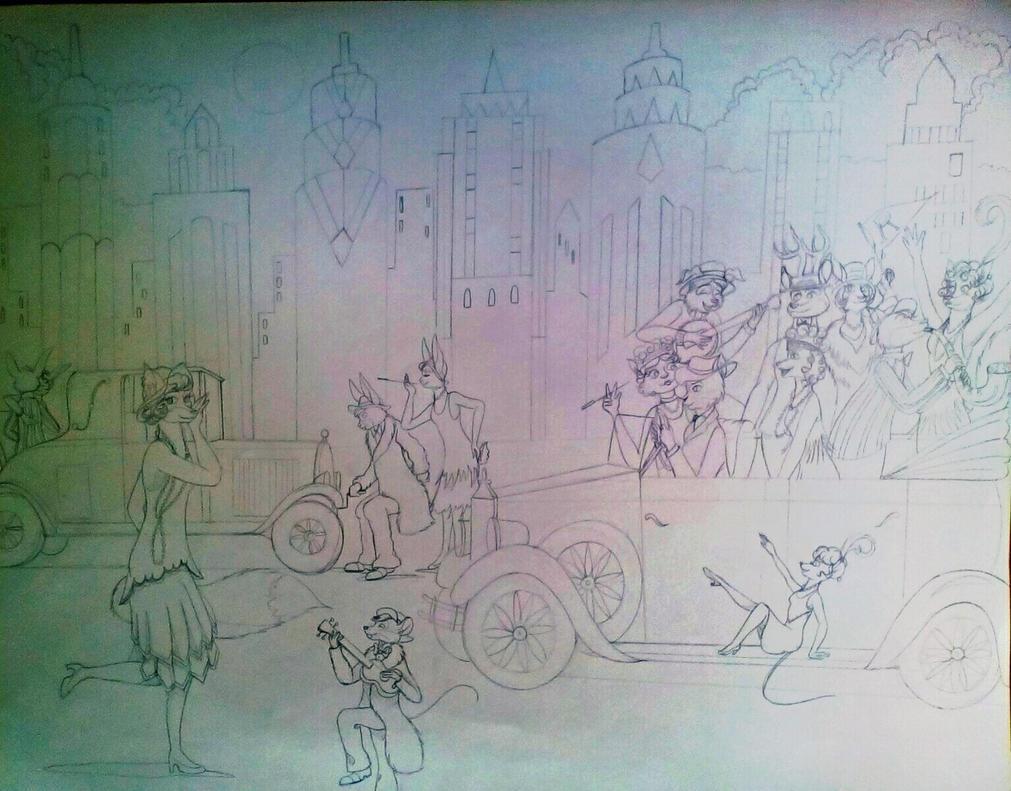 Flapper Foxy's Flivver Party-Sketch by FlapperFoxy