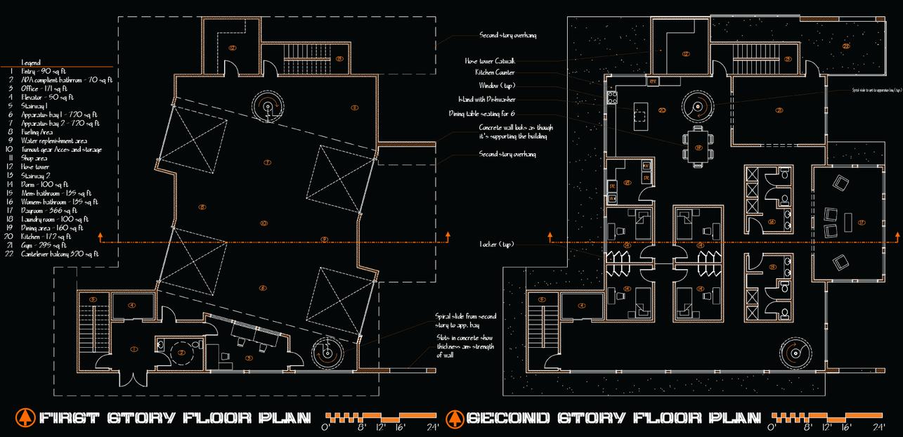 Fire station Floor Plan by Codeblu90 on DeviantArt – Fire Station Floor Plans