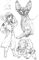 Naked cat and the Pilaf Gang by average-artist