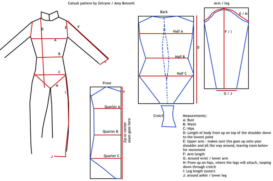 Catsuit sewing pattern by Zelvyne on DeviantArt
